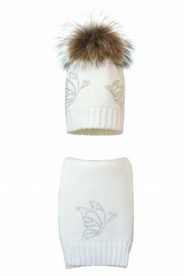 Комплект (шапка и шарф) HATTY Бабочки (54 см) Белый (1н/1-9)
