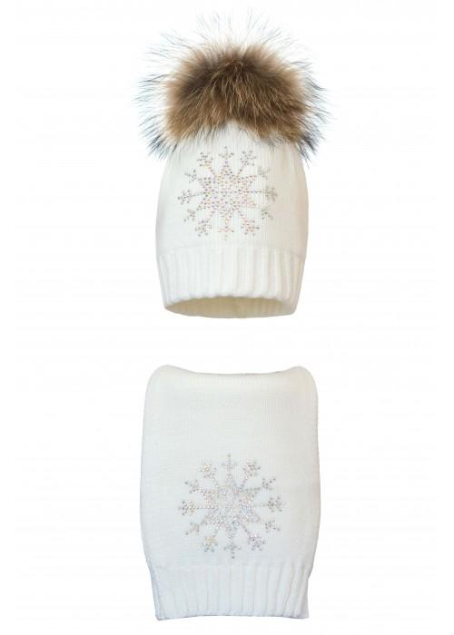 Комплект (шапка и шарф) HATTY Снежинка 3  (54 cм) Белый (1н/1-8)