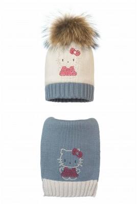 Комплект (шапка и шарф) HATTY Китти в платье (54 см) Жемчуг со стальным (1н/3-6-2)