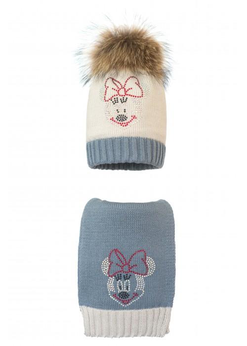 Комплект (шапка и шарф) HATTY Мини Маус (54 см) Жемчуг со стальным (1н/3-6-4)