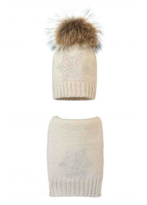 Комплект (шапка и шарф) HATTY Снежинка 6 серебро (54 см) Жемчуг (1н/3-6с)