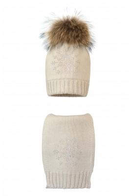 Комплект (шапка и шарф) HATTY  Снежинка 3 (54 см) Жемчуг (1н/3-8)