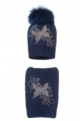 Комплект (шапка и шарф) HATTY Бабочка узор (54 см) Темно-синий (1н/10-10)