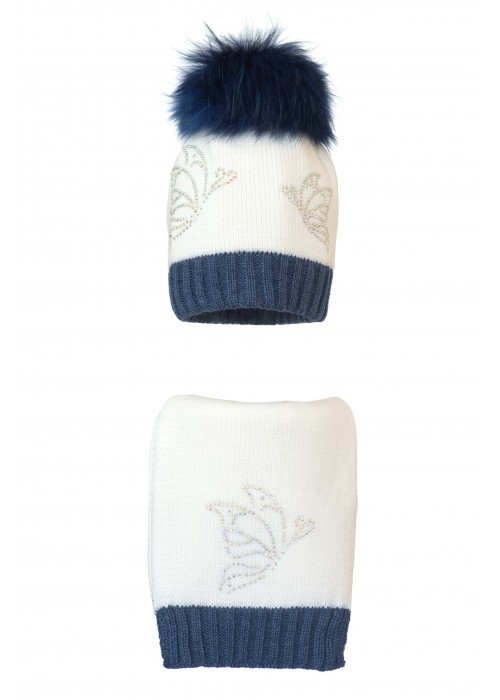 Комплект (шапка и шарф) HATTY Бабочки (54 см) Белый с синим меланжем (1н/1-13-9)