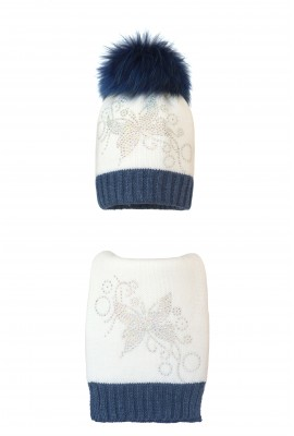 Комплект (шапка и шарф) HATTY Бабочка узор  (54 см)  Белый с синим меланжем (1н/1-13-10)