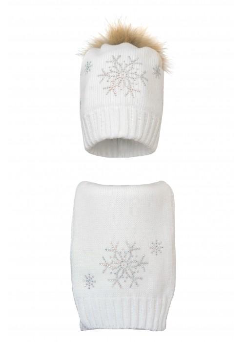Комплект (шапка и шарф) HATTY Снежинка 4+1 (54 см) Белый (1в/1-7)