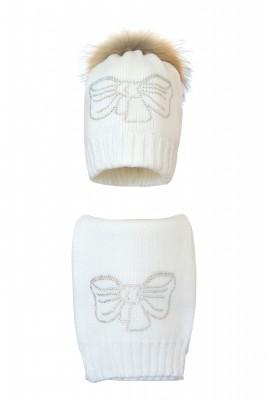 Комплект (шапка и шарф) HATTY Бант (54 см) Белый (1в/1-11с)