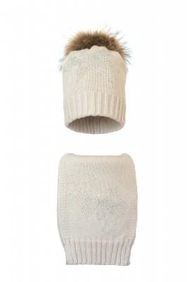 Комплект (шапка и шарф) HATTY Бабочка узор (54 см) Жемчуг (1в/3-10)