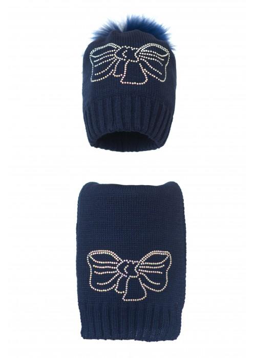 Комплект (шапка и шарф) HATTY Бант (54 см) Темно-синий (1в/10-11с)