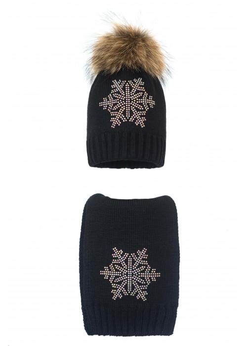 Комплект (шапка и шарф) HATTY Снежинка 6 серебро (54 см) Черный (1н/15-6с)