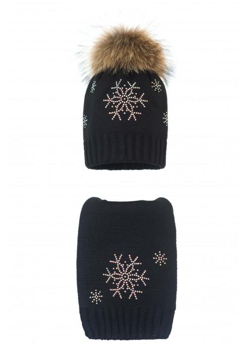 Комплект (шапка и шарф) HATTY Снежинка 4+1 (54 см) Черный (1н/15-7)