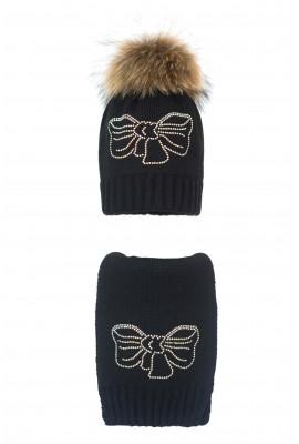 Комплект (шапка и шарф) HATTY Бант (54 см) Черный (1н/15-11с)