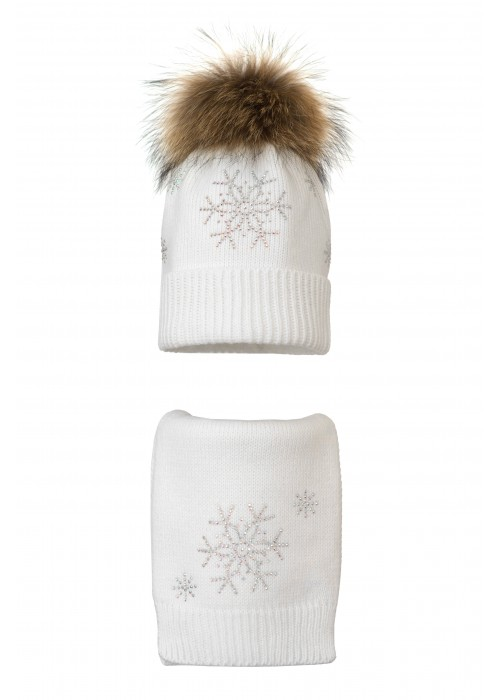 Комплект (шапка и шарф) HATTY Снежинка 4+1 (54 см) Белый (7н/1-7)