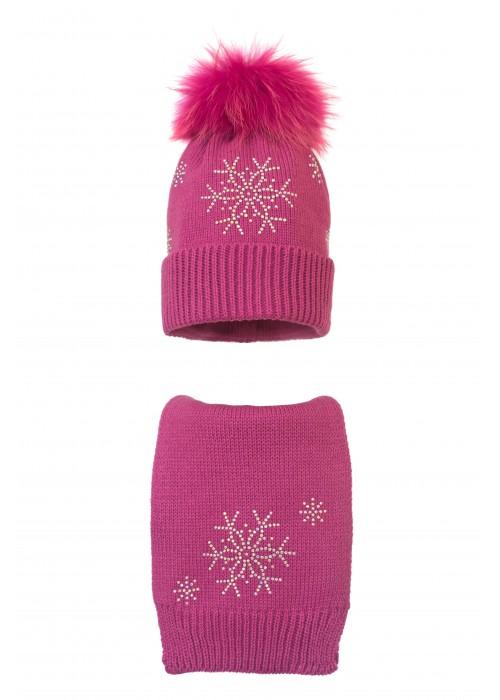 Комплект (шапка и шарф) HATTY Снежинка 4+1 (56 см) Фуксия (7н/14-7)
