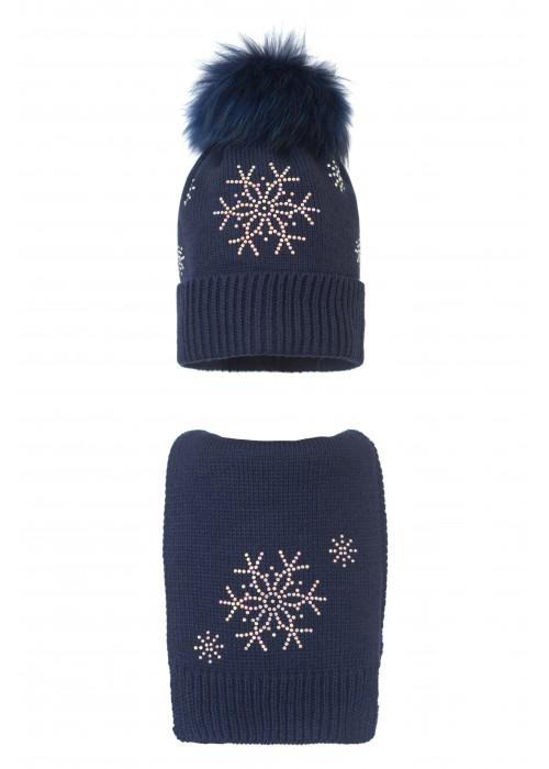 Комплект (шапка и шарф) HATTY Снежинка 4+1 (56 см) Темно-синий (7н/10-7)