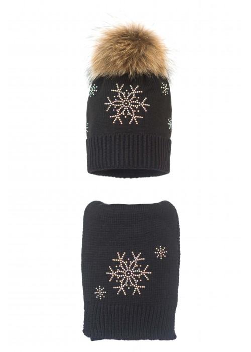 Комплект (шапка и шарф) HATTY Снежинка 4+1 (56 см) Черный (7н/15-7)