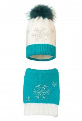 Комплект (шапка и шарф) HATTY  Снежинка 4+1 (54-56 см) Белый с бирюзовым (2н/1-9-7)