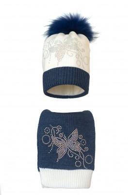 Комплект (шапка и шарф) HATTY  Бабочка узор (56 см) Белый с синим темным меланжем (2в/1-12-10)