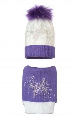 Комплект (шапка и шарф) HATTY Бабочка узор (54-56 см) Белый с сиреневым (2н/1-8-10)
