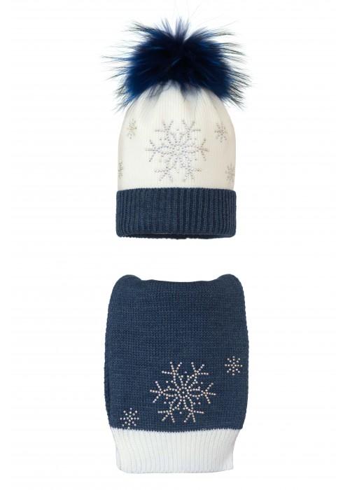 Комплект (шапка и шарф) HATTY Снежинка 4+1 (54-56 см) Белый с синим темным меланжем (2н/1-12-7)
