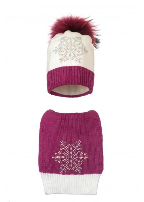 Комплект (шапка и шарф) HATTY Снежинка 6с (54 cм) Белый с фуксией (2в/1-14-6с)