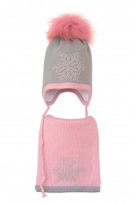Комплект (шапка и шарф) HATTY Снежинка 6 серебро (54 см) Ангора с розовым (3/5-4-6с)