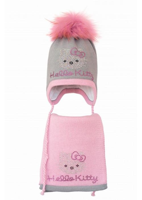 Комплект (шапка и шарф) HATTY Hello Kitty розовая (50 см) Ангора с розовым (3/5-4-1р)