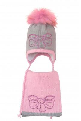 Комплект (шапка и шарф) HATTY Бант розовый (46 см) Ангора с розовым (3/5-4-11р)