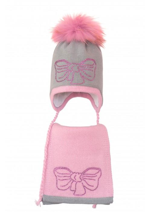 Комплект (шапка и шарф) HATTY Бант розовый (52 см) Ангора с розовым (3/5-4-11р)