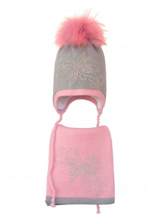 Комплект (шапка и шарф) HATTY Бабочка с узором (54 см) Ангора с розовым (3/5-4-10)