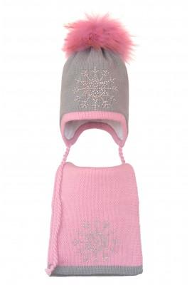 Комплект (шапка и шарф) HATTY Снежинка 3 (52 см) Ангора с розовым (3/5-4-8)