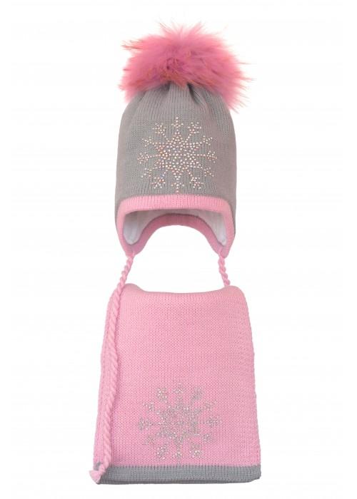 Комплект (шапка и шарф) HATTY Снежинка 3 (46 см) Ангора с розовым (3/5-4-8)