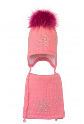 Комплект (шапка и шарф) HATTY Снежинка 4+1 (50 см) Ярко розовый (3/18-7)