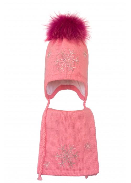 Комплект (шапка и шарф) HATTY Снежинка 4+1 (52 см) Ярко розовый (3/18-7)