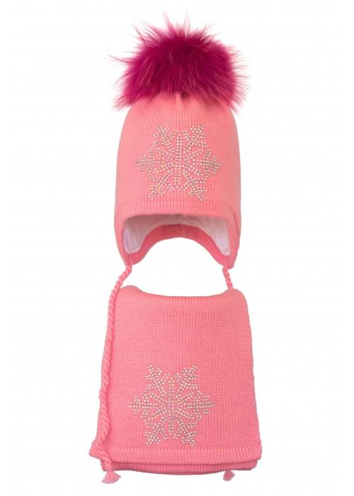 Комплект (шапка и шарф) HATTY Снежинка 6 серебро (52 см) Ярко розовый (3/18-6с)