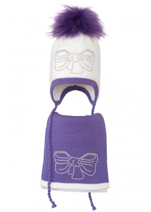 Комплект (шапка и шарф) HATTY Бант серебро (50 см) Белый с сиреневым (3/1-8-11с)