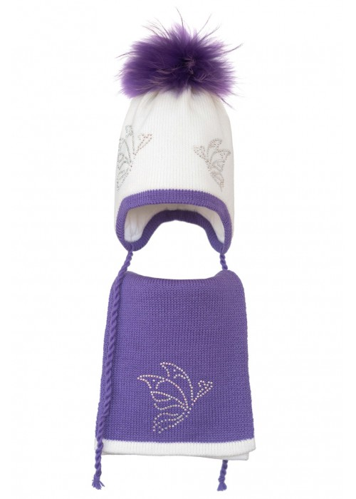 Комплект (шапка и шарф) HATTY Бабочки (52 см) Белый с сиреневым (3/1-8-9)