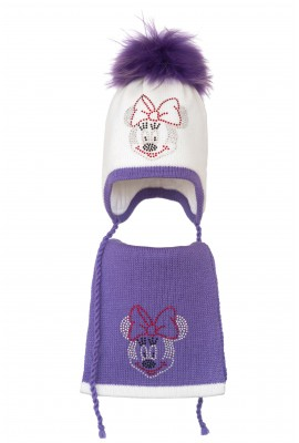 Комплект (шапка и шарф) HATTY Мини Маус (50 см) Белый с сиреневым (3/1-8-4)