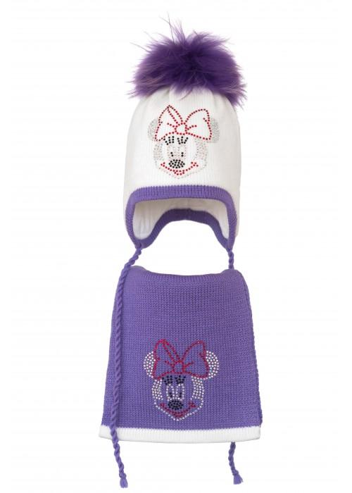 Комплект (шапка и шарф) HATTY Мини Маус (52 см) Белый с сиреневым (3/1-8-4)
