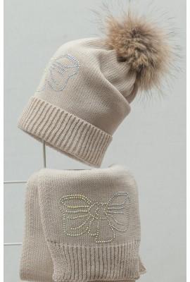 Комплект (шапка и шарф) HATTY  Бант (54 см) Жемчужный (2в/3-11с)