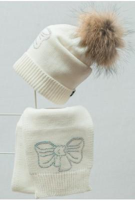 Комплект (шапка и шарф) HATTY Бант (54 см) Белый  (2в/1-11с)