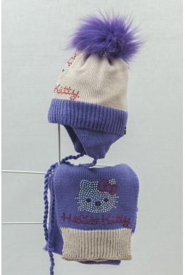 Комплект (шапка и шарф) HATTY Hello Kitty (50 см) Жемчуг с сиреневым (5/3-8-1к)