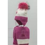 Комплект (шапка и шарф) HATTY Свинка Пеппа (50 см) Белый с фуксией (5/1-14-5)