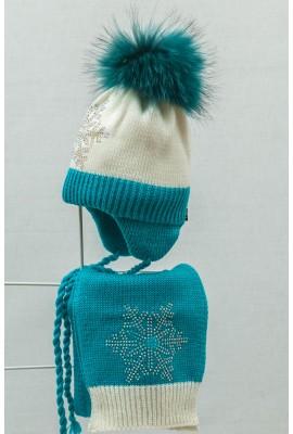 Комплект (шапка и шарф) HATTY Модель 5 Снежинка 6с (50см) Белый с бирюзовым (5/1-9-6с)