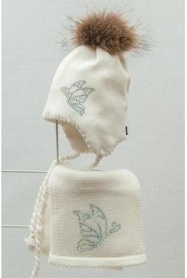 Комплект (шапка и шарф) HATTY Бабочки (50 см) Белый  (6/1-9)